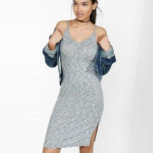 Express Gray Ribbed Cami Slip Dress